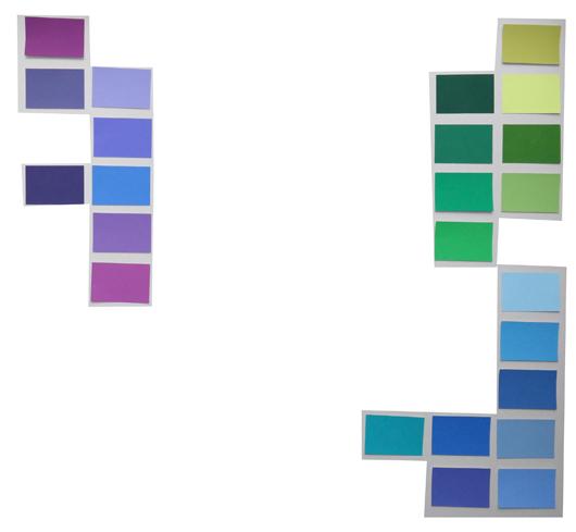 Variationen der Farben Violett, Grün, Blau
